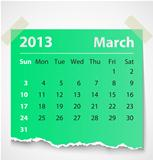 2013 calendar march colorful torn paper