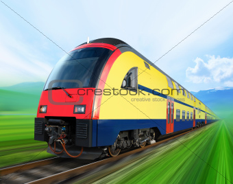 super streamlined train on rail