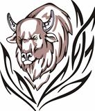 Tattoo with bison head. Color vector illustration.