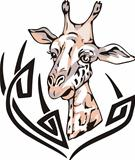 Tattoo with giraffe head. Color vector illustration.