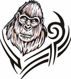 Tattoo with gorilla head. Color vector illustration.
