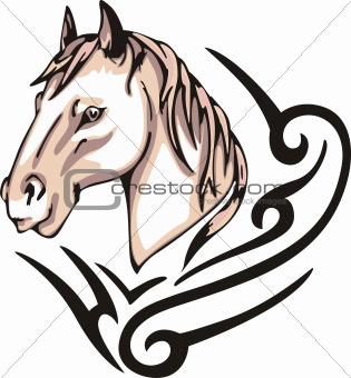 Tattoo with horse head. Color vector illustration.