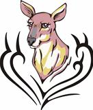 Tattoo with kangaroo head. Color vector illustration.