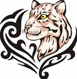 Tattoo with leopard head. Color vector illustration.