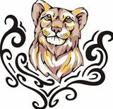 Tattoo with lioness head. Color vector illustration.