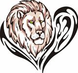 Tattoo with lion head. Color vector illustration.