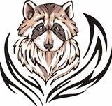 Tattoo with racoon head. Color vector illustration.