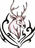 Tattoo with reindeer head. Color vector illustration.