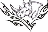 Tattoo with rhino head. Color vector illustration.