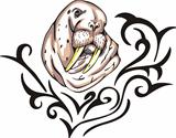 Tattoo with walrus head. Color vector illustration.