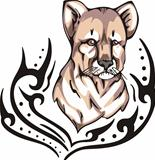 Tattoo with head of lion cub. Color vector illustration.