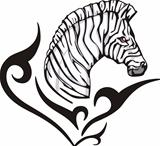 Tattoo with zebra head. Color vector illustration.