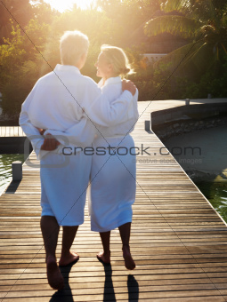 Romantic mature couple enjoying at spa resort