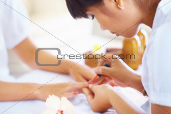 Having a manicure