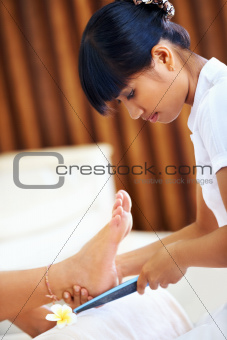 Beautician doing a pedicure