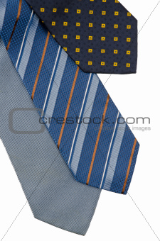 Closeup of three ties