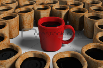 Red cup among dirty cups