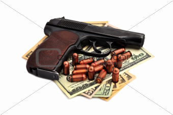 pistol, cartridges and dollars