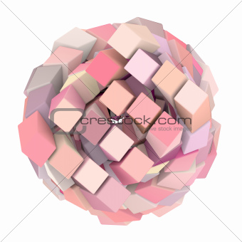 3d abstract cube ball shape in pink on white