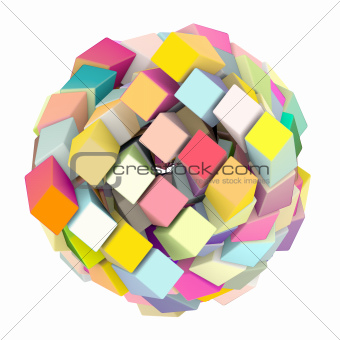 3d abstract cube ball shape in multi rainbow color