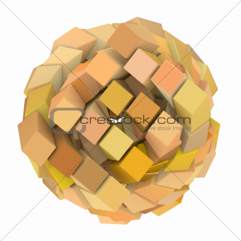 3d abstract cube ball shape in orange on white