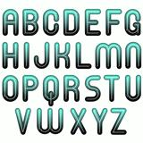 blue glossy shiny bubble fonts