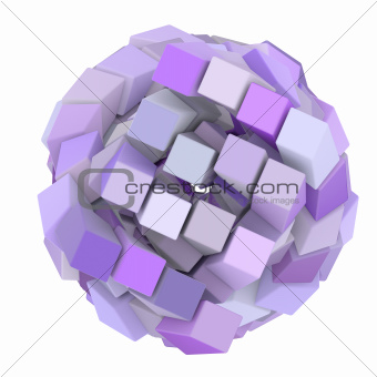 3d abstract cube ball shape in purple magenta on white