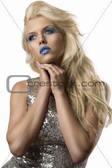 blonde girl with euro flag make-up, she looks at right