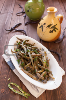 Bean pods with parsley