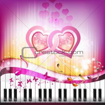Piano keys with butterflies