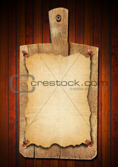 Old Notebook Cutting Board on Wood Background