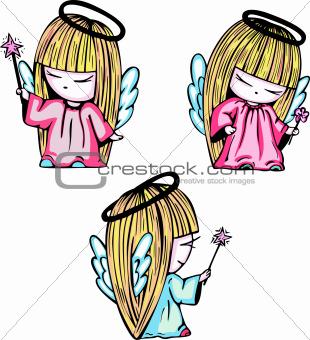 Little angel girls with magic stick