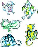 Green and blue baby dragons