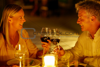 Caucasian couple having a romantic dinner at restaurant