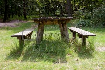 old empty table fot picknick