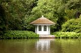 little house in rich garden on the embankment of the river