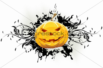 Grungy Floral Halloween Background with Pumpkin