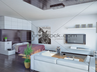 modern living room design (illustration)