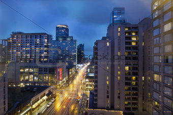 Vancouver BC Downtown at Evening Blue Hour
