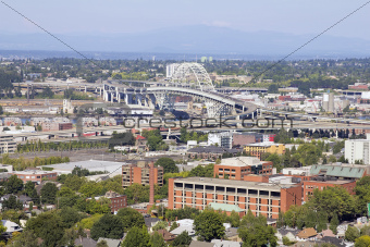 Fremont Bridge Over Willamette River