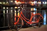 Orange bicycle in Amsterdam