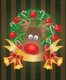Reindeer in Christmas Wreath Illustration
