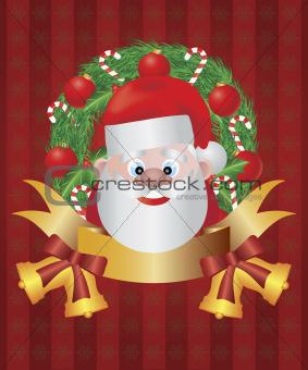 Santa Claus in Christmas Wreath Illustration