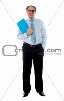Corporate businessman holding document