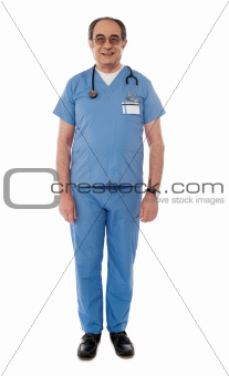 Full length view of senior doctor