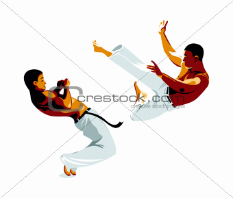 Capoeira fighters