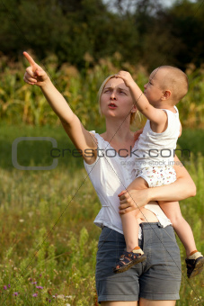Mother And Son Outdoors