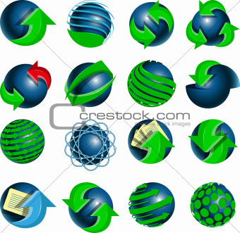 blue balls and green arrows