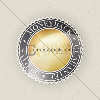 Money back guarantee on paper texture. Vector, EPS10