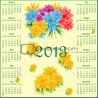 Calendar 2013 with flowers